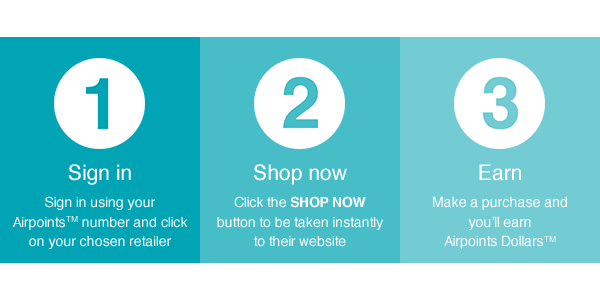 Earn Airpoints Dollars™ on your online purchases in three simple steps